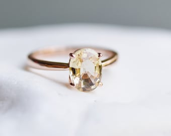 Yellow Champagne sapphire engagement ring. Light champagne sapphire 3.5ct oval ring 14k Rose gold ring. Engagement ring by  Eidelprecious