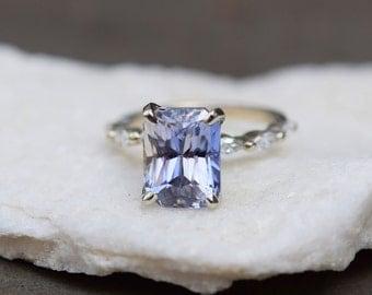 Emerald Engagement Ring 4.5ct Light Blue Sapphire Engagement Ring Godivah ring One of a kind ring Sapphire emerald cut ring Eidelprecious
