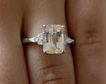 Engagement Ring White gold engagement ring Champagne Sapphire ring Campari ring cushion White gold diamond ring 3ct ring Eidelprecious