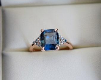 Green Martini engagement ring. Peacock sapphire engagement ring. 3ct emerald cut blue green sapphire ring diamond ring by Eidelprecious.
