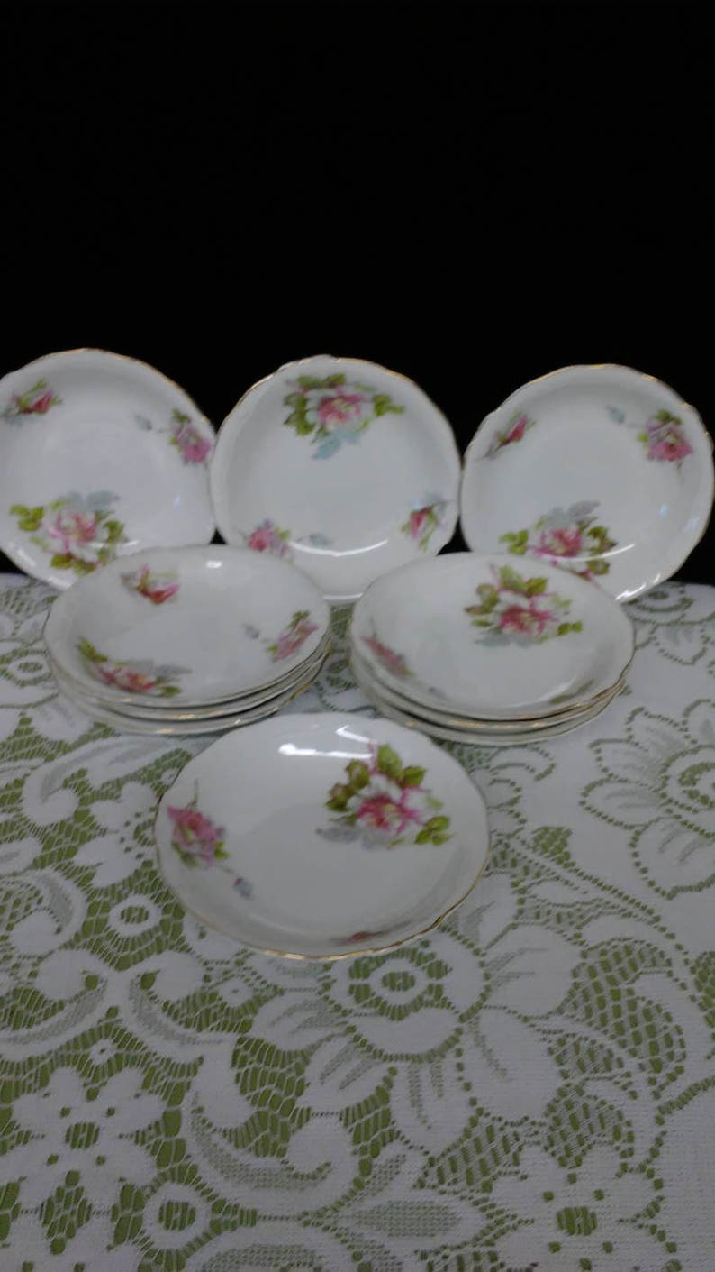 10 Hermann Ohme Silesia German pink rose porcelain small berry or fruit bowls Ten