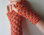 Fingerless Gloves in Salmon Coral Pink Mango Arm Warmers