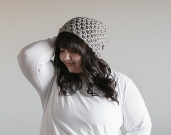 Womens Winter Hat / Oversized Slouchy Beanie Hat / Mushroom Gray Slouch Hat / Chunky Slouchy Hat for Women / Womens Winter Hat / Chunky Hat