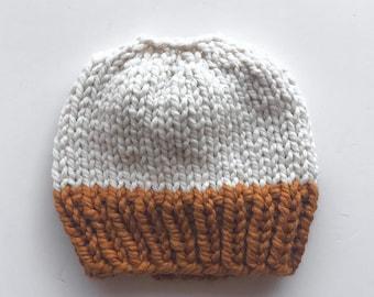 Messy Bun Hat, Chunky Ponytail Hat, Butternut Brown, Cream, Knit Bun Hat, Knit Ponytail Hat, Messy Bun Beanie, Topknot Hat, Ponytail Beanie