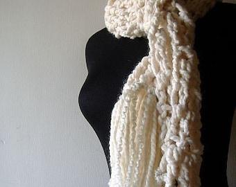 Chunky Scarf, Women's Scarf, Crochet Scarf, New Fallen Snow Scarf Warm Cuddly Creamy White with Fringe