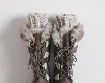 Chunky Boot Cuffs, Ribbed Boot Cuffs, Legwarmers, Boot Cuffs for Women, Beige Boot Cuffs, Crochet Boot Cuffs, Handmade Boot Cuffs, Oatmeal