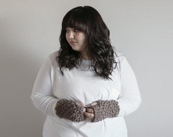Taupe Brown Fingerless Gloves, Fingerless Gloves Women, Fingerless Crochet Gloves, Crochet Handwarmers, Handmade Gloves