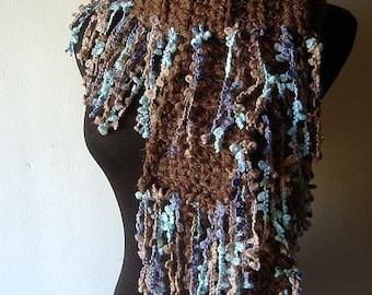 Chunky Scarf, Women's Scarf, Crochet Scarf, Mocha Fringe Scarf Warm Thick Fringie in Brown White Blue