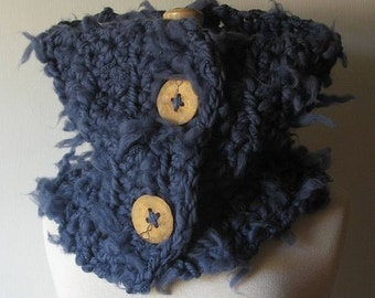 Chunky Cowl Scarf, Denim Blue Cowl, Handmade Neck Warmer, Oversized Cowl, Crochet Neckwarmer, Wood Buttons