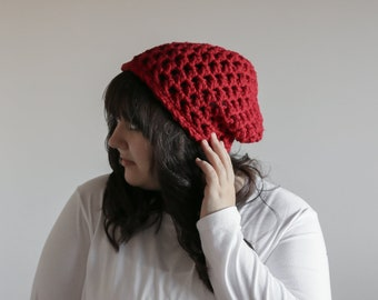 Womens Winter Hat / Oversized Slouchy Beanie Hat / Cranberry Red Slouch Hat / Chunky Slouchy Hat for Women / Womens Winter Hat / Chunky Hat