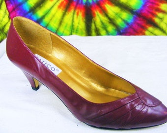 6 M vintage 80's raspberry red leather CALICO pumps heels shoes