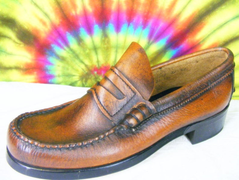 775e3059d1db6 10.5 D mens vintage 70's DEXTER brown leather penny loafers shoes NOS