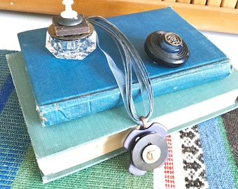 Blue Vintage Buttons Gift Set - Glass Ring Box - Button Brooch Pin - Button Pendant Necklace