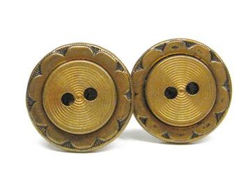Cufflinks Gold Metal Scalloped Vintage Buttons