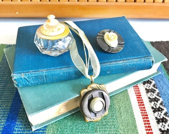 Creamy Beige Vintage Buttons Gift Set - Glass Ring Box - Button Brooch Pin - Button Pendant Necklace