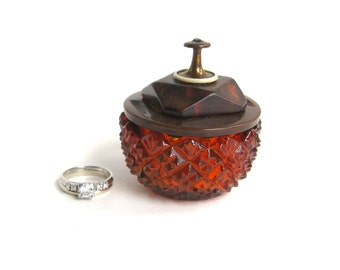 Red and Brown Engagement Ring Box Salt Cellar with Vintage Button Lid