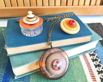 Orange Vintage Buttons Gift Set - Glass Ring Box - Button Brooch Pin - Button Pendant Necklace