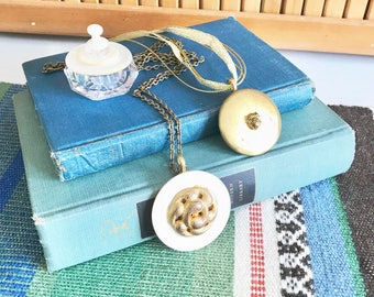 Gift Set - Creamy Shell Vintage Button Necklace - Gold Button Dog Face - Salt Cellar Ring Box
