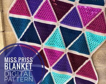 Crochet Blanket Pattern - Miss Priss Blanket Crochet Pattern, Digital PDF Blanket pattern, crochet throw pattern, handmade lap