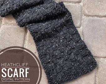 Scarf Knitting Pattern - Heathcliff Scarf Knit Pattern, PDF Digital Download Only, Knitting Scarf Pattern, Cozy Tweed Scarf