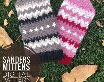 Mitten Knitting Pattern - Sanders Mittens Knit Pattern, Bernie Sanders Mittens, PDF Digital Download, Knit Glove Pattern, Cozy Wool Mitts