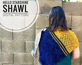 Crochet Shawl Pattern - Hello Starshine Shawl Crochet Pattern, Digital PDF Shawl pattern, crochet wrap pattern, handmade triangle scarf