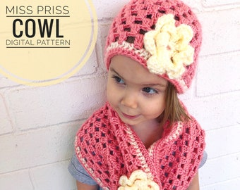 Cowl Crochet Pattern - Miss Priss Cowl Pattern, PDF Digital Download Only, Crochet Scarf Pattern, Toddler child adult scarves