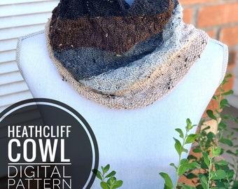 Cowl Knitting Pattern - Heathcliff Cowl Knit Pattern, PDF Digital Download Only, Knitting Scarf Pattern, Cozy Tweed Cowl