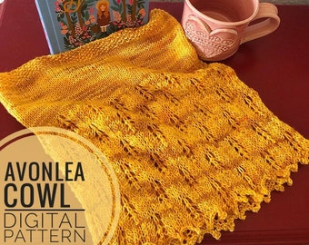 Cowl Knitting Pattern - Avonlea Cowl Pattern, knitted cowl, knit scarf, fingering weight yarn pattern, lace knitting