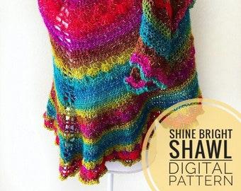 Shawl Crochet Pattern - Shine Bright Shawl Crochet Pattern, Digital PDF pattern, crochet shawl pattern, handmade prayer shawl