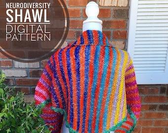 Shawl Crochet Pattern - Neurodiversity Shawl PDF Crochet Pattern, Digital Download Only, wrap pattern, triangle scarf, autism acceptance