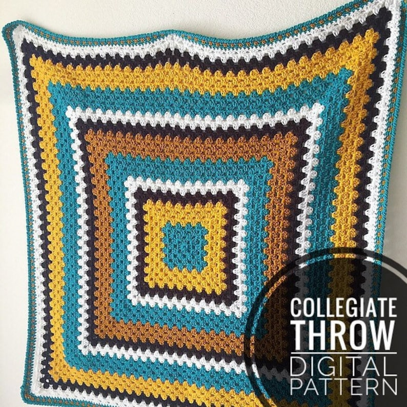 Blanket Crochet Pattern  Collegiate Throw Pattern Crochet image 0