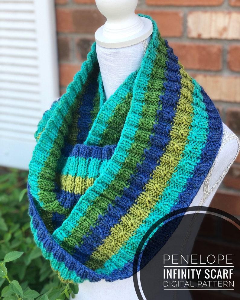 Cowl Knitting Pattern  Penelope Infinity Scarf Knit Pattern image 0