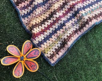 Blanket Crochet Pattern - Comforting Granny Stripe Blanket Pattern, PDF digital crochet pattern, crochet scrap blanket