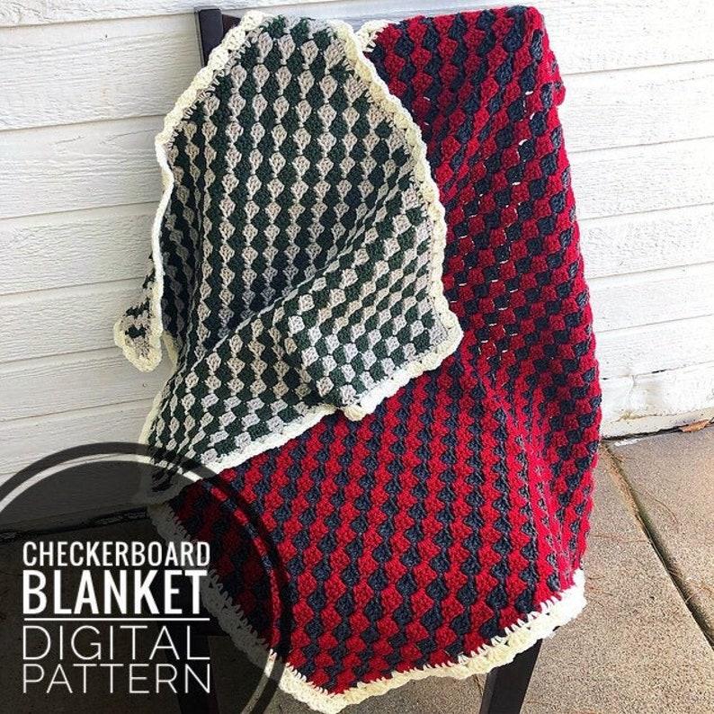 Baby Blanket Crochet Pattern  Checkerboard Blanket Crochet image 0