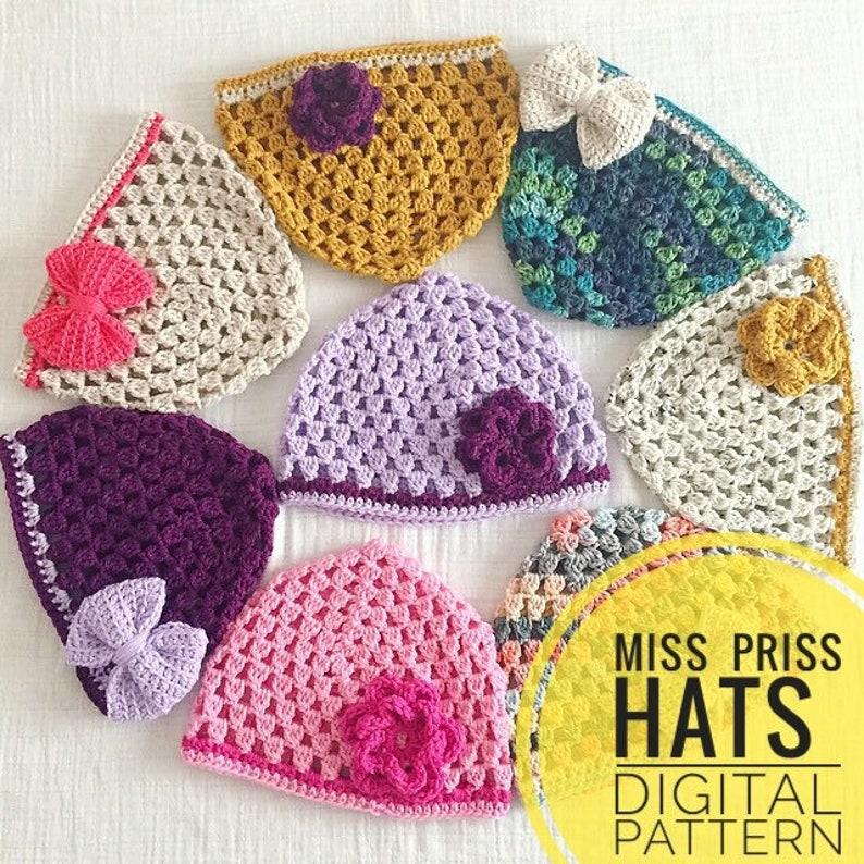 Hat Crochet Pattern  Miss Priss Hat Pattern PDF Digital image 0