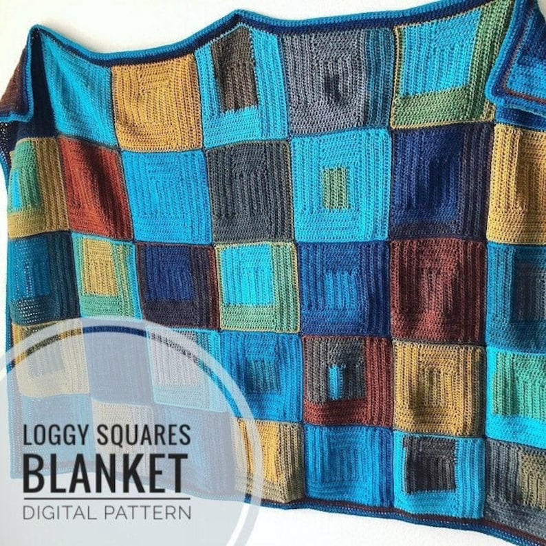 Blanket Crochet Pattern  Loggy Squares Blanket Pattern image 0