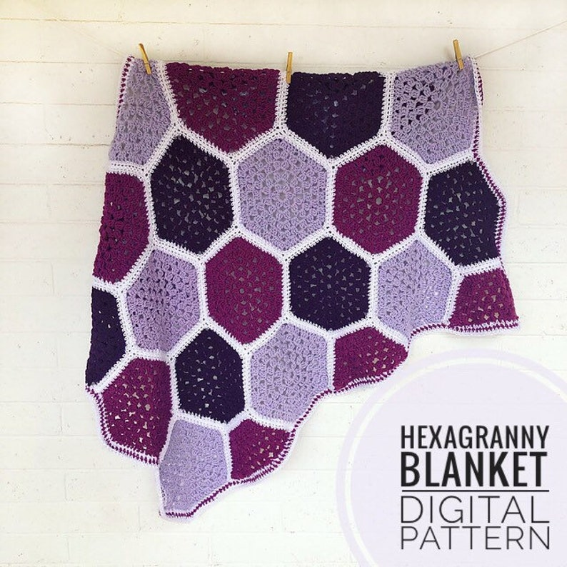 Crochet Blanket Pattern  Hexagranny Blanket Crochet Pattern image 0