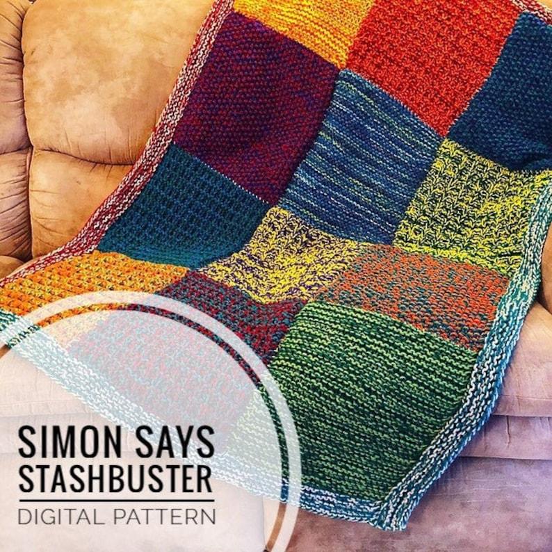 Knit Blanket Pattern  Simon Says Stashbuster Knit Blanket image 1