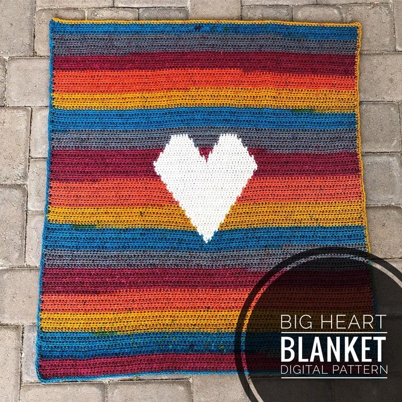 Crochet Blanket Pattern  Big Heart Baby Blanket PDF Crochet image 0