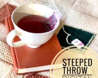 Blanket Knitting Pattern - Steeped Throw Blanket PDF Knit Pattern Digital Download Only