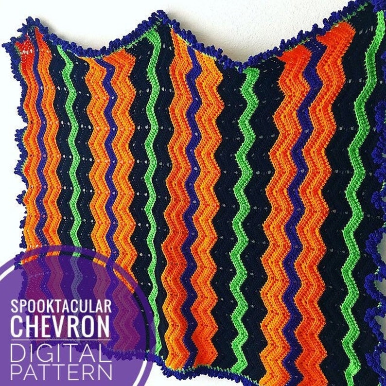 Blanket Crochet Pattern  Spooktacular Chevron Crochet Blanket image 0