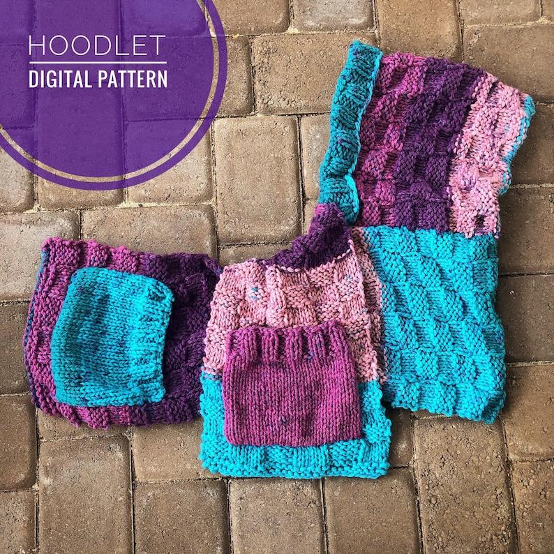 Scarf Knitting Pattern  Hoodlet PDF Knit Pattern Hooded image 0