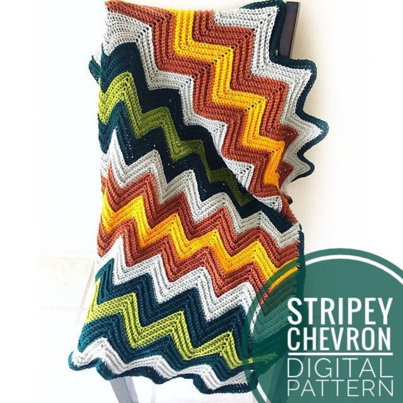 Blanket Crochet Pattern  Stripey Chevron Baby Blanket Crochet image 0