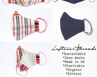 Eco Sustainable Upcycled Organic Three Layer Face Mask with Filter Pocket with FREE FILTER size S-M Charitable