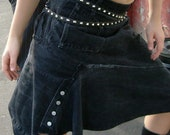 Asymmetric Black Levi's Denim Skirt S / Upcycled Jean Skirt / Eco Friendly Skirt / Black Denim Skirt 10 UK