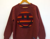 Upcycled Eco Sustainable Acid Smiley Jumper- Recycled Rainbow Stripy Vintage Lambswool Sweater Mens Womens Unisex M Medium