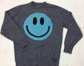 Upcycled Eco Sustainable Acid Smiley Jumper - Recycled Menswear Sweater - Mens Womens Unisex M Medium