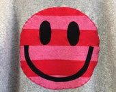 Upcycled Eco Sustainable Acid Smiley Jumper- Recycled Pink Rainbow Stripy Lambswool Cashmere Sweater Womens Unisex Cos Medium