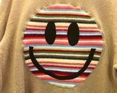 Upcycled Eco Sustainable Acid Smiley Jumper - Recycled BARBOUR Rainbow Stripy Sweater - Mens Womens Unisex M Medium